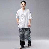 Wholesale yoga tai chi resale online - Men Tai Chi Meditation Yoga Shirt Linen Loose Chinese Traditional Sweatshirt Jogger gym Casual Workout Kungfu Shirt Sportswear