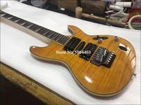 Wholesale guitar yellow tiger for sale - Group buy Custom high quality string electric guitar yellow tiger veneer rosewood fingerboard double rocker bridge custom service