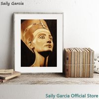 Wholesale egypt painting for sale - Group buy Egypt Queen Nefertiti Portrait Vintage Poster Canvas Art Prints Sepia Wall Art Picture Painting for Living Room Home Wall Decor