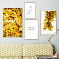 Wholesale nude women canvas art painting resale online - Yellow Ginkgo Leaves Abstract Line Woman Wall Art Canvas Painting Nordic Posters And Prints Wall Pictures For Living Room Decor