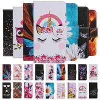 Wholesale stars lite online – custom Cartoon wolf Owl Flower Rose Bear Star Leather Wallet Card stand Flip back Case for Huawei P30 P40 PRO P30 P40 LITE Y5P Y6P Y7P P SMART
