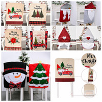 Wholesale christmas chair backs covers for sale - Group buy Christmas Chair Back Covers non woven Dining Chair Cover Slipcovers For Xmas Banquet Holiday Christmas Decoration YYA331