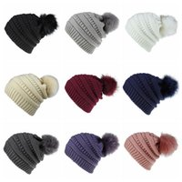Wholesale fluffy caps for sale - Group buy Women Knitted Hat Warm Fluffy Ball Female Beanies Caps Pom Pom Beanie Ladies Skull Beanie Solid Crochet Ski Outdoor party Caps LSK458