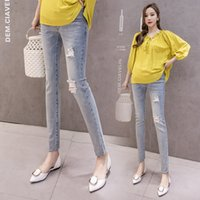 Wholesale jeans for maternity resale online - 2020 Vintgae Washed Denim Maternity Jeans for Pregnant Women Clothes Elastic Waist Belly Loose Pants Pregnancy Gravidas Clothing