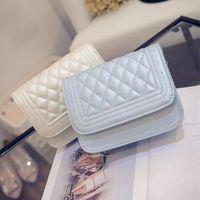Wholesale free shipping korea bag resale online - Fashion New Handbags High Quality Pu Leather Women Bag Korea Simple Lozenge Sweet Girl Shoulder Female Pu Bag