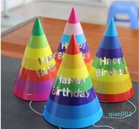 Wholesale cone party hat for sale - Group buy 500PCS Happy Birthday Paper Cone Hats Dress Up Girls Boy Party Decortion Supplies Colorful Birthday Party Hats SH190923