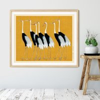 Wholesale wall art birds resale online - Yellow Birds Crane Print Japanese Oriental Art Prints Coastal Wall Art Canvas Painting Vintage Poster Wall Picture Home Decor