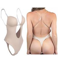 Women's Full Body Shaper Backless Shaperwear Thong Seamless U Plunge Shapers Push up Slimming BodySuit Waist Shaperwear CX200714