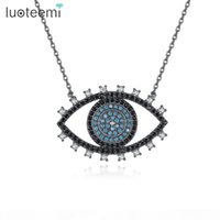 Wholesale luoteemi resale online - LUOTEEMI New Cool Design Big Eye Pendant Cute Christmas Birthday Gift for Women Blue Black Clear CZ Stone Necklace Jewelry