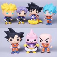 Wholesale goku toys resale online - Funko Pop Krillin Trunks Dragon Ball Goku Super Saiyan Trunks Anime Figure Toys Birthdays Gifts Doll Hot Sale New Arrvial Hot Sale
