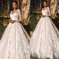 Wholesale boho lace sleeve wedding dress resale online - Swseet Heart Neck Wedding Dresses Long Sleeve Lace Country Boho Wedding Gowns Plus Size Wedding Dresses Bridal Gowns Robe De Mariee