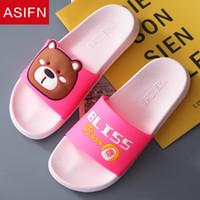 Wholesale indoor cartoon slippers resale online - ASIFN Cute Cartoon Indoor Women Home Slippers Non slip Summer Ladies Mules Cute Bear Flip Flops Female Slides Platform Shoes