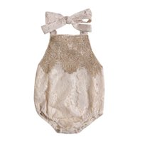 Wholesale adorable baby clothing resale online - 2017 New Newborn Toddler Infant Baby Girl Lace Jumpsuit Bodysuit Clothes Sleeveless Sunsuit Adorable Clothes