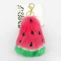 Wholesale puffy toys resale online - Cute Watermelon Key Chains Puffy Pompom Handmade Soft Fur Pendant for Bag Decoration Car Key Keychains Jewelry Ornament Kids Toy