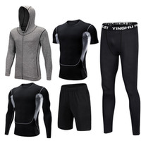 Wholesale fitness compression clothing resale online - Mens Sportswear Set Male Tracksuit Compression Sports Wear For Men Gym Fitness Clothes Running Jogging Workout Sport Suits