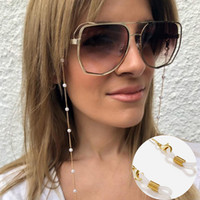 Eyeglasses Chain White Plastic Bead Pearl Heart Charm Plated Eyewear Retainer Women Sunglasses Accessory Necklace Layered Bracelet