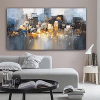 Wholesale oil painting animal scenery resale online - City Scenery Building Poster and Prints Abstract Oil Painting on Canvas Wall Art Pictures for Living Room Bedroom Home Decoration Cuadros