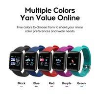 Wholesale gps run tracker online – 20pcs ID116 PLUS Color Smart Bracelet Screen Bracelet Sports Pedometer Watch Fitness Running Tracker Heart Rate Pedometer Smart Wristbands