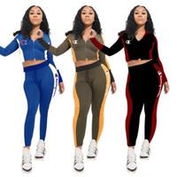 Wholesale piece chiffon pants sets resale online - Designer Women Champions Jacket Two Piece Set Long Sleeve Zipper Sweatshirt Crop Top Pants Leggings Tracksuit Outfits Suit Sportswear