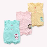 Wholesale zebra print baby clothes for sale - Group buy 2019 Newborn Baby Clothes Korean Summer Infant Baby Dot Sleeveless Romper For Baby Girls Cartoon Print Jumpsuit
