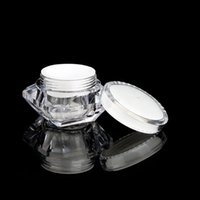Wholesale cosmetic pot empty sample resale online - 15g ml Diamond Style Pot Acrylic Cosmetic Empty Jar Eyeshadow Makeup Face Cream Lip Balm Container Bottle Sample Packaging LJJP125
