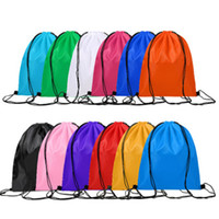 Wholesale draw string bags for sale - Group buy Solid color simplicit girl Draw Backpack Bags Canvas Pocket Softback Shoulders Draw String Shop CM emoticon School Bags Donuts Party
