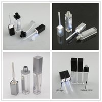 7ML LED Light Black Cosmetic Lipstick Containers Make up Tool Plastic Square Concealer Bottle Lip Gloss Tube with Mirror 20pcs