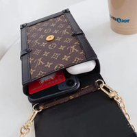 Wholesale top china resale online - Fashion Designer Phone Bag for iphone pro max plus X XR XsMax Leather Top Quality Phone Bags with Lanyard for Samsung HUAWEI inch