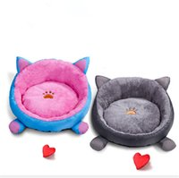 Wholesale ear housing for sale - Group buy Soft Fleece Pet Mat Winter Warm Nest Pet Cat With ears Small Dog Puppy Kennel Bed Sofa House Products GP181212