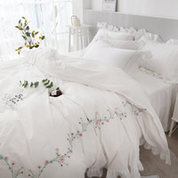 Wholesale girls princess white bedding for sale - Group buy TUTUBIRD White Pink embroidery Korean style bedding set girls princess Egyptian Cotton duvet cover queen king size bed linen