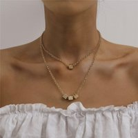Wholesale square retro pendant necklace resale online - 10pcs Retro Ins Style Square Pendant Necklace Double Layer Dice Tassel Cross Chains For Women Souvenir Gold Necklaces Jewelry