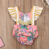 Wholesale cute outfits summer resale online - Newborn Baby Clothing Cute Infant Girl Clothes Tassel Unicorn Bare Back Romper toddlers Jumpsuit Outfits Summer Kids Clothes M2447
