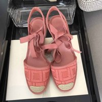 Wholesale denim canvas wedges shoes for sale - Group buy Top quality Summer fashion designer style ladies canvas shoes hand woven wedge sandals female designer sandals with box