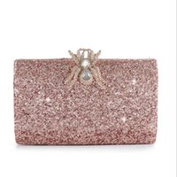 Wholesale dinner clutches for sale - Group buy ABERA hot pink bling evening bags diamond spider hasp clutch wallets wedding dinner bags with chain drop shipping MN1323