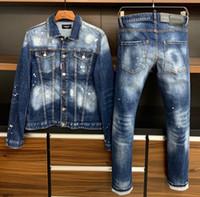 Wholesale pant suit prices resale online - Denim jacket men s long sleeved denim suit High quality lowest price denim top pants slim