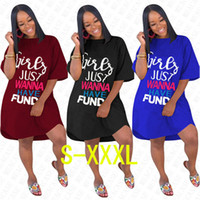 Wholesale solid color t shirt for girls for sale - Group buy GIRLS JUST WANNA HAVE FUND Letter Oversize Dress for Women Ladies Summer Loose Dresses Solid Overall Fashion Elegent Long T shirt D71612