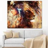 Wholesale indian abstract art paintings for sale - Group buy Abstract Native Indian Girl Lion Canvas Painting Pop Art Animal Posters and Prints Personalized Wall Art Picture for Living Room Home Decor