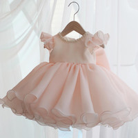 Wholesale christening clothes for babies resale online - Summer Baby Girl Dresses Beads Pink Bow Baptism Dress for Princess year Birthday Party Wedding Gown Baby Christening Clothing T200709