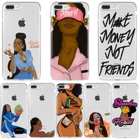Wholesale MAKE MONEY Not Friends Kash Afro Black Girl Fundas phone case for iPhone Pro X XR XS Max s Plus transparent Silicone Case Coque
