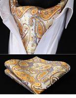 Wholesale handkerchief necktie for sale - Group buy RP706YS Yellow Gold Paisley Ascot Tie designerket Square Woven Men Party wedding Tie Necktie Handkerchief Set