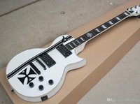 Wholesale white pearl guitar for sale - Group buy High Quality White Electric Guitar with Black Pattern White Pearl Frets Inlay Black Hardware White Binding