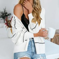 Wholesale Elegant Knitted Women Cardigan Coat Streetwear Striped V Neck Lantern Long Sleeve Casual Female Tops Loose Fashion Sweaters