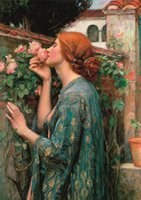 pinturas dulces al por mayor-Waterhouse - My Sweet Rose Home Decor Handpainted &HD Print Oil Painting On Canvas Wall Art Canvas Pictures 200711