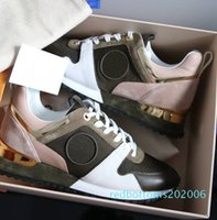 Wholesale womans 4 resale online - NEW Designer sneakers Brand Womans Man Shoes Leather Mesh Mixed Color Trainer Runner Shoes Unisex Size US