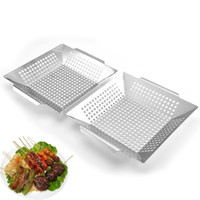 Wholesale stainless steel cookware resale online - Vegetable Grill Basket for Grilling Veggies Fish Meat Kabob Stainless Steel BBQ Accessories Camping Cookware JK2007KD