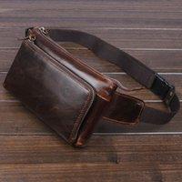 Wholesale vintage fanny pack resale online - Men Vintage Cowhide Waist Bag Oil Wax Leather Cowhide Cell Mobile Phone Hip Bum Belt Cross Body Pouch Fanny Pack Waist Bag