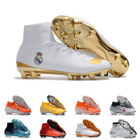 Wholesale cleats for soccer ronaldo for sale - Group buy Mens FG Cleats White Superfly Elite Neymar High Ankle Outdoor Soccer Shoes Ronaldo CR7 Mercurial Football Crampons Boots for Male D0802