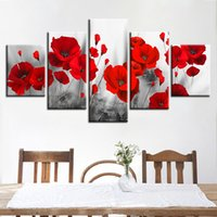 Wholesale canvas art poppies resale online - Canvas Printed Pictures Living Room Wall Art Framework Pieces Romantic Poppies Paintings Red Flowers Poster Modular Home Decor