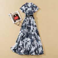 European and American high-quality catwalk style ink print embossed dress