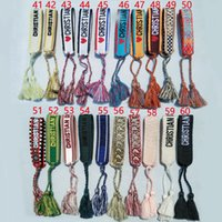 Wholesale china flags resale online - New Cotton woven Letter Embroidery tassel bangle Lace up Bracelet Adjustable Festival bracelets Brand Designer jewelry